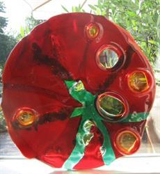 glas rood rond  met groen mensteken