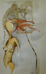 pen en inkt naakt met boom