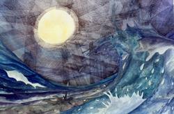 pen en inkt zee en maan